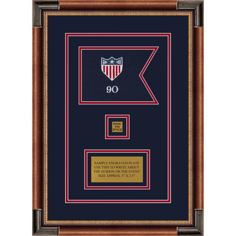 "Adjutant General 7"" x 5"" Guidon Design 75-D2-M1 Framed"