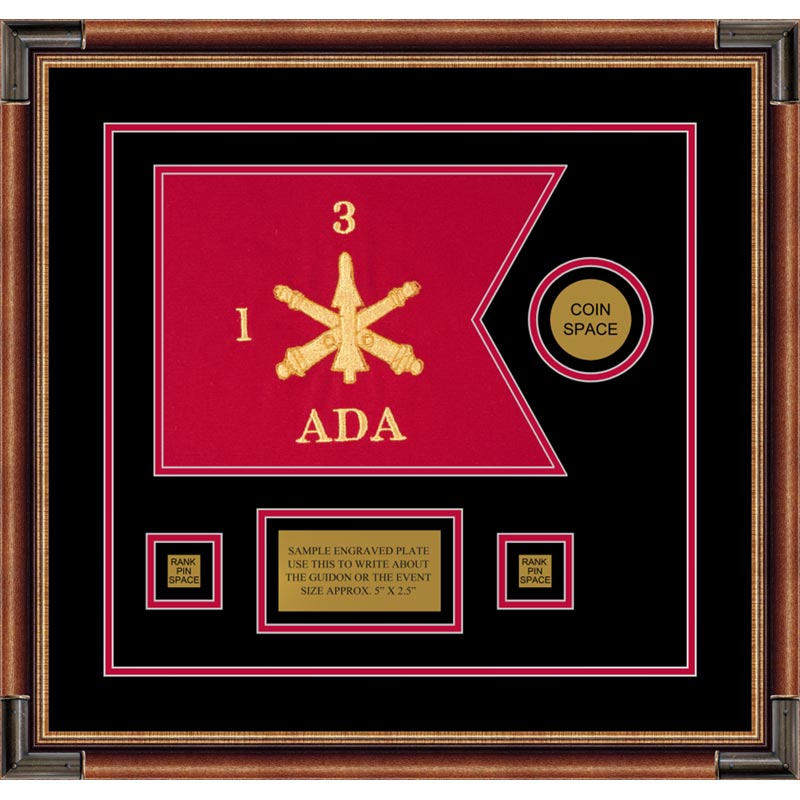 "Air Defense 12"" x 9"" Guidon Design 129-D3-M1 Framed"
