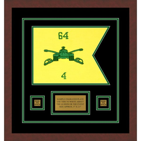 "Armor Corps 12"" x 9"" Guidon Design 129-D1-M3 Framed"