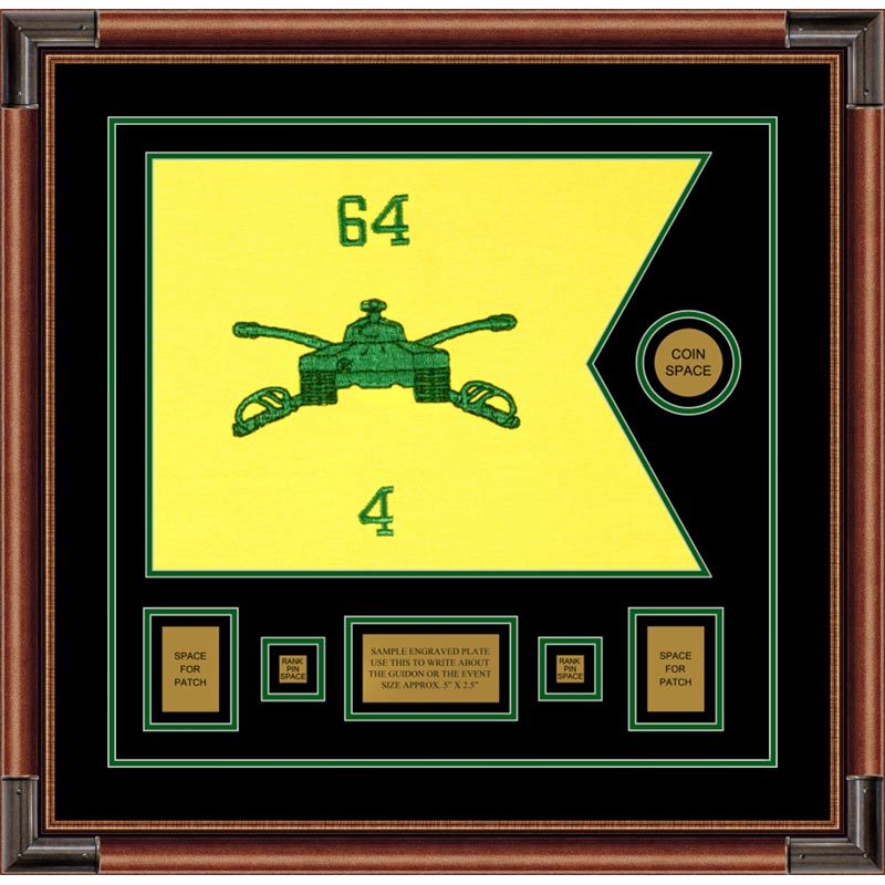 "Armor corps 20"" x 15"" Guidon Design 2015-D1-M4 Framed"