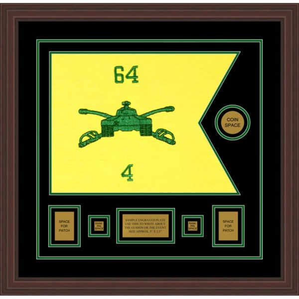 "Armor Corps 20"" x 15"" Guidon Design 2015-D1-M6 Framed"