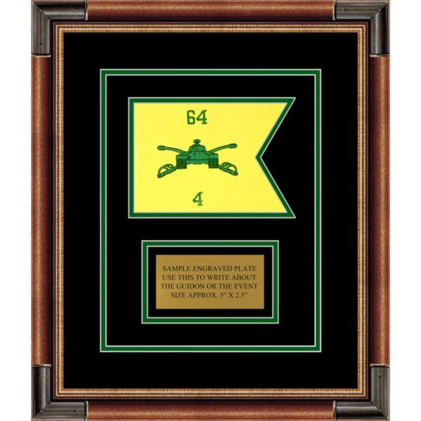 "Armor Corps 7"" x 5"" Guidon Design75-D1-M1 Framed"
