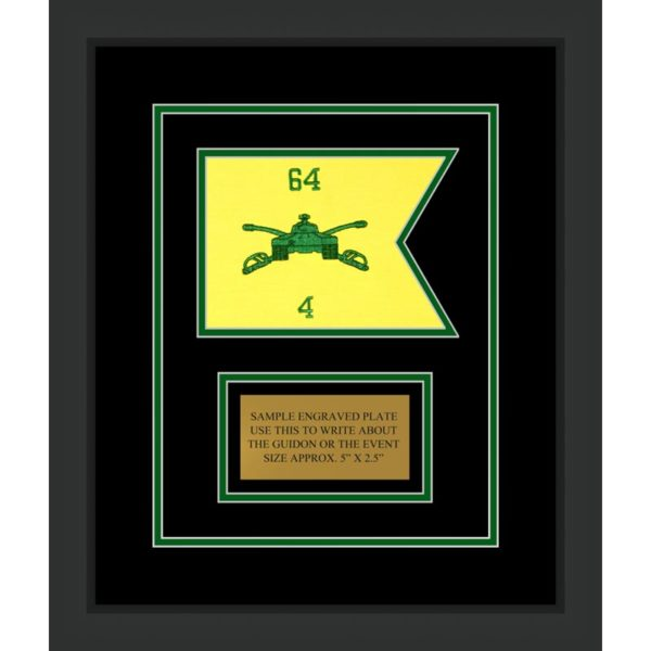 "Armor Corps 7"" x 5"" Guidon Design75-D1-M2 Framed"