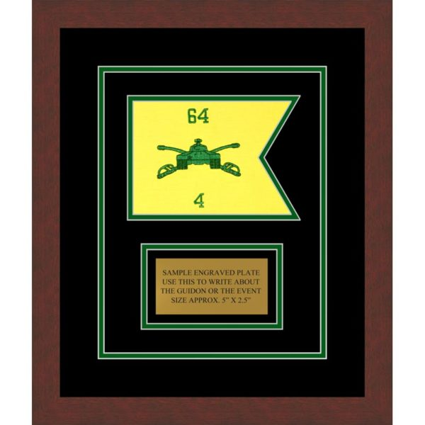 "Armor Corps 7"" x 5"" Guidon Design 75-D1-M3 Framed"