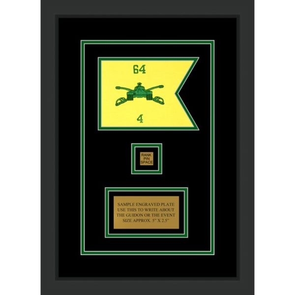 "Armor Corps 7"" x 5"" Guidon Design 75-D2-M2 Framed"