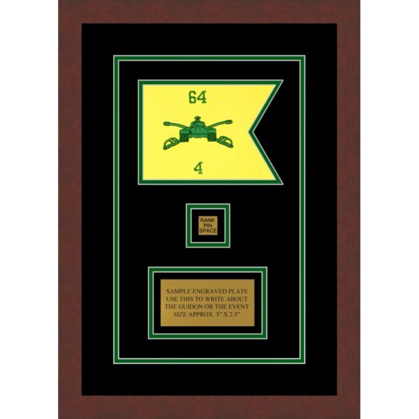 "Armor Corps 7"" x 5"" Guidon Design 75-D2-M3 Framed"