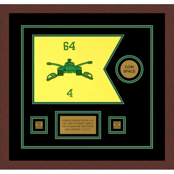 "Armor Corps 12"" x 9"" Guidon Design 129-D3-M3 Framed"