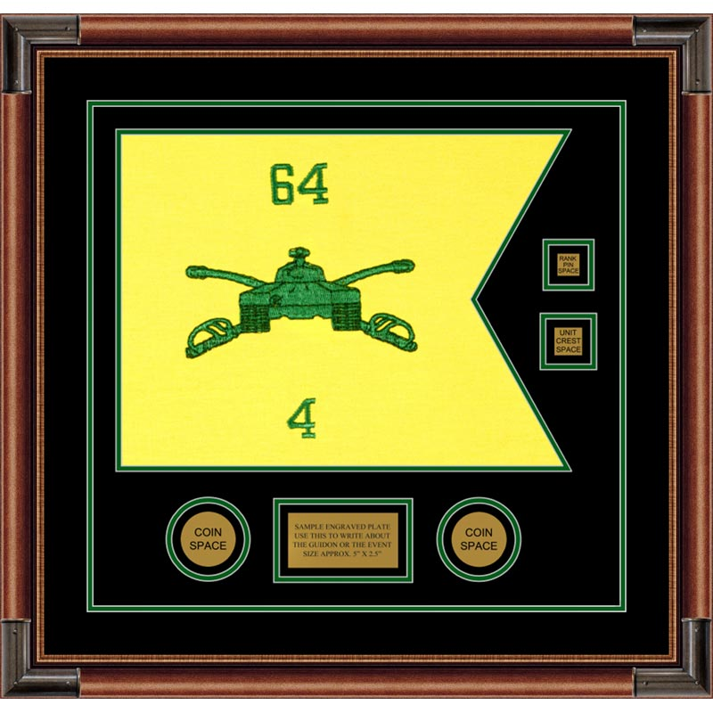 "Armor Corps 20"" x 15"" Guidon Design 2015-D3-M4 Framed"
