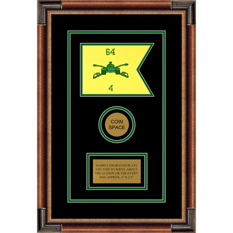 "Armor Corps 7"" x 5"" Guidon Design 75-D3-M1 Framed"