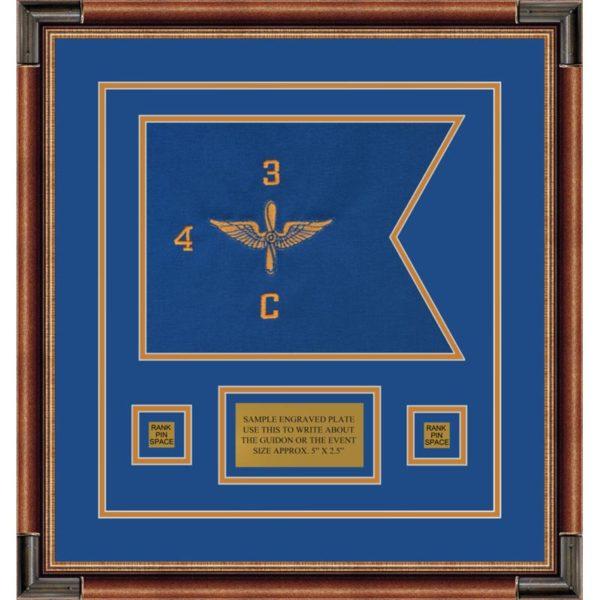 """Aviation 12"""" x 9"""" Guidon Design 129-D1-M1 Framed"""