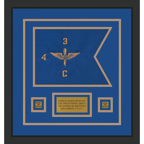"""Aviation 12"""" x 9"""" Guidon Design 129-D1-M2 Framed"""