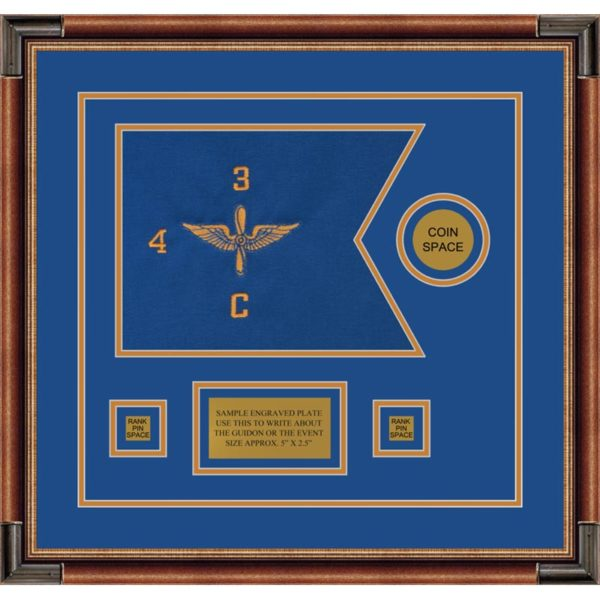 "Aviation 12"" x 9"" Guidon Design 129-D3-M1 Framed"