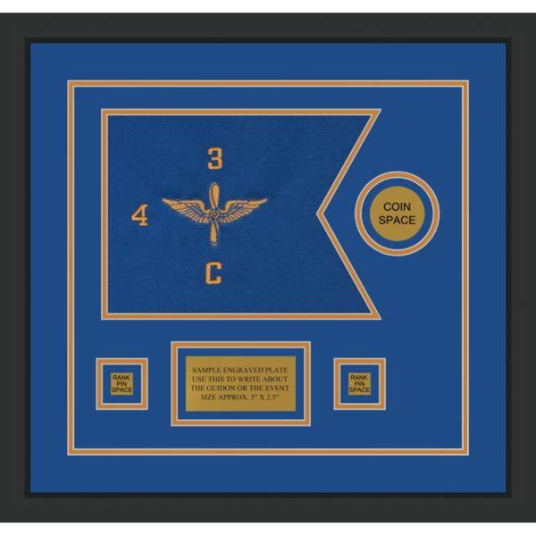"""Aviation 12"""" x 9"""" Guidon Design 129-D3-M2 Framed"""