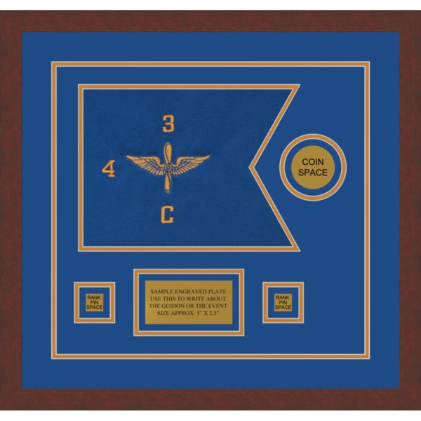 "Aviation 12"" x 9"" Guidon Design 129-D3-M3 Framed"