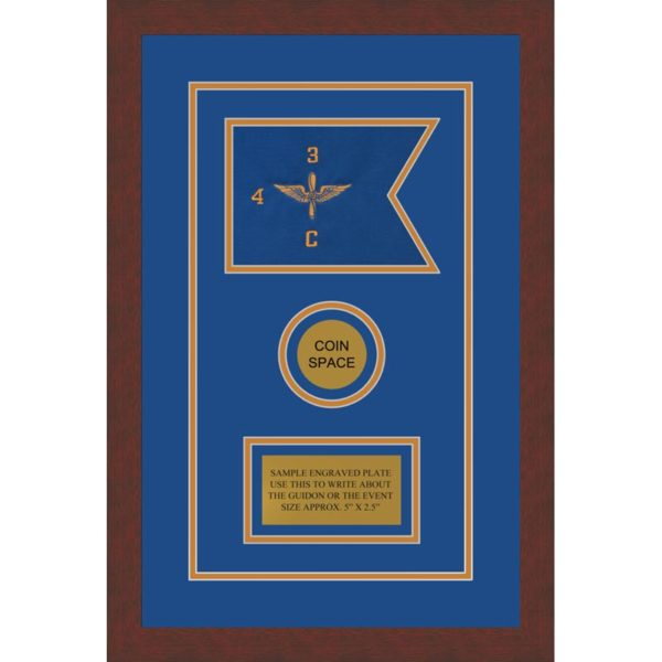 "Framed Aviation 7"" x 5"" Guidon Design 75-D3-M2. The framed army guidon features an embroidered single-sided guidon sewn onto the bottom acid-free mat. The Aviation guidon has triple acid-free mats. The top two mats are cut into the shape of the guidon and an opening for each object. The bottom mat is used for mounting objects in the openings. This guidon design features three object openings. The first opening is for the guidon. An opening for a challenge coin is beneath the guidon opening. Under the challenge coin is an opening for a name plate. The design also includes an open V-groove immediately around the Aviation guidon and name plate. Surrounding the mats is a transitional contemporary 1.375"" wide black matte finish frame. The glazing for the frame is 99% UV protected acrylic."