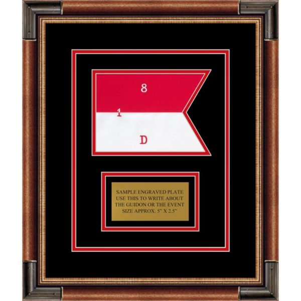 "Cavalry Version 1 7"" x 5"" Guidon Design75-D1-M1 Framed"