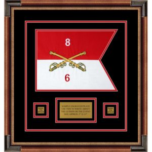 "Cavalry Version 2 12"" x 9"" Guidon Design 129-D1-M1Framed"