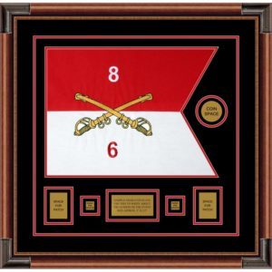 "Cavalry Version 2 20"" x 15"" Guidon Design 2015-D1-M4 Framed"