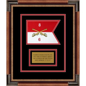 "Cavalry Version 2 7"" x 5"" Guidon Design 75-D1-M1 Framed"