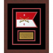 "Cavalry Version 2 7"" x 5"" Guidon Design 75-D1-M3 Framed"