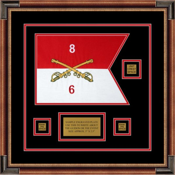 "Cavalry Version 2 12"" x 9"" Guidon Design 129-D2-M1 Framed"