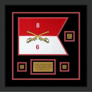 "Cavalry Version 2 12"" x 9"" Guidon Design 129-D2-M2 Framed"