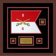 "Cavalry Version 2 12"" x 9"" Guidon Design 129-D2-M3 Framed"