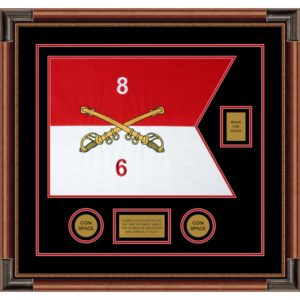 "Cavalry Version 2 20"" x 15"" Guidon Design 2015-D2-M4 Framed"