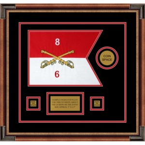 "Cavalry Version 2 12"" x 9"" Guidon Design 129-D3-M1 Framed"