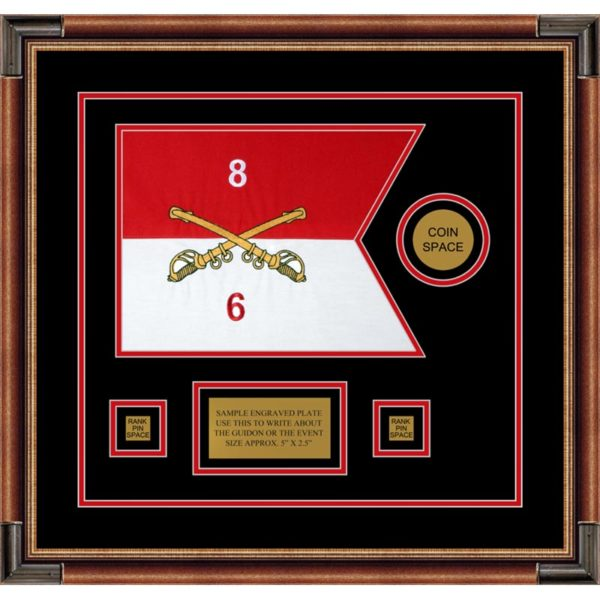"Cavalry Version 2 12"" x 9"" Guidon Design 129-D3-M1 Framed"