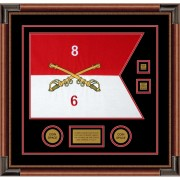 "Cavalry Version 2 20"" x 15"" Guidon Design 2015-D3-M4 Framed"