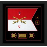 "Cavalry Version 2 20"" x 15"" Guidon Design 2015-D3-M5 Framed"