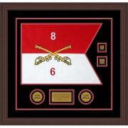 "Cavalry Version 2 20"" x 15"" Guidon Design 2015-D3-M6 Framed"