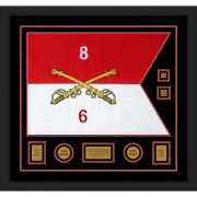 "Cavalry Version 2 28"" x 20"" Guidon Design 2820-D3-M5 Framed"