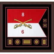 "Cavalry Version 2 28"" x 20"" Guidon Design 2820-D3-M6 Framed"