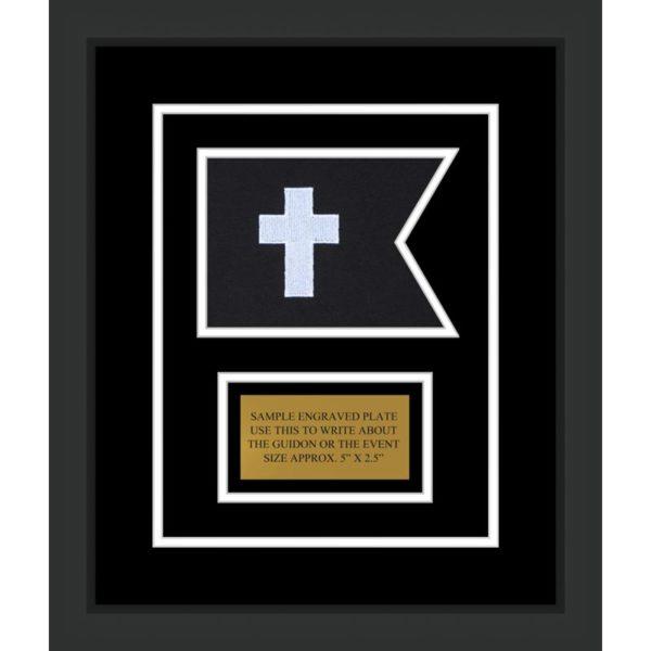 "Chaplain 7"" x 5"" Guidon Design 75-D1-M2 Framed"