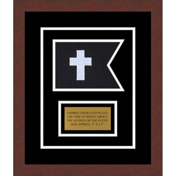 "Chaplain 7"" x 5"" Guidon Design 75-D1-M3 Framed"
