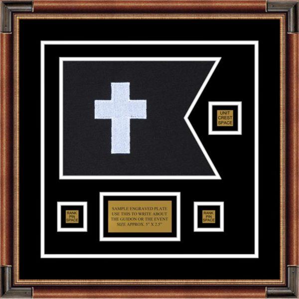 "Chaplain 12"" x 9"" Guidon Design 129-D2-M1 Framed"