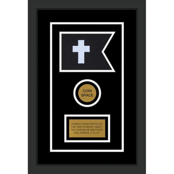 "Chaplain 7"" x 5"" Guidon Design 75-D3-M2 Framed"