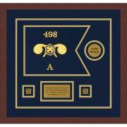 """Framed Chemical Corps 12"""" x 9"""" Guidon Design 129-D3-M3 Framed"""