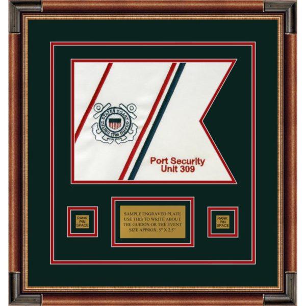 """Coast Guard 12"""" x 9"""" Guidon Design 129-D1-M1 Framed"""