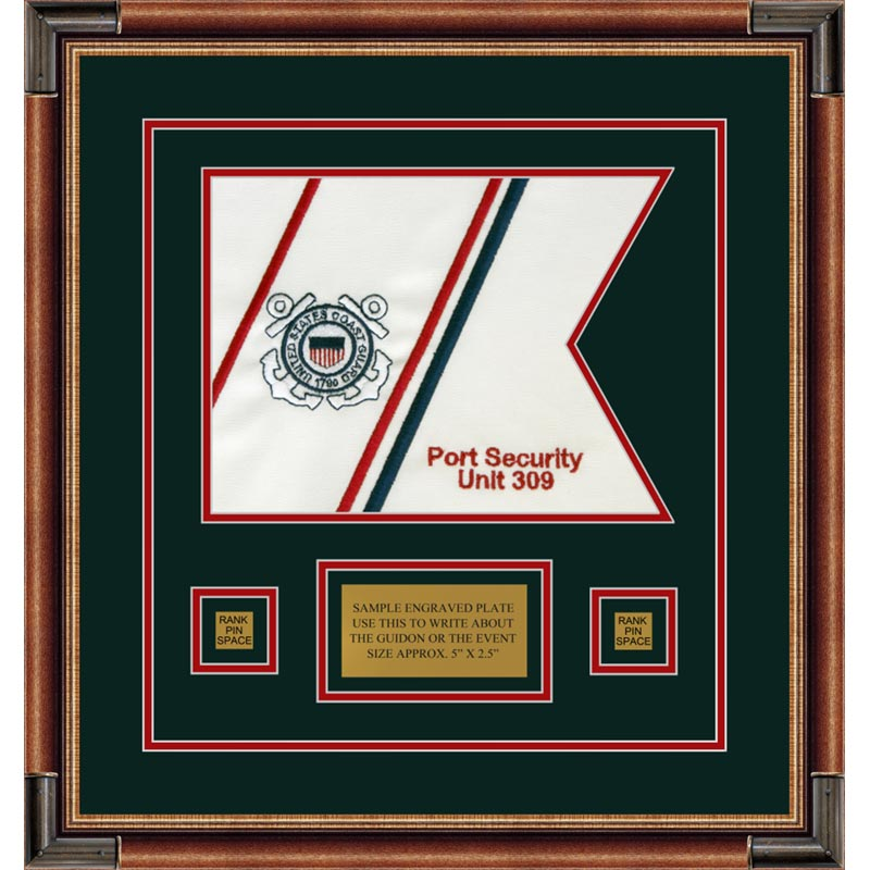 "Coast Guard 12"" x 9"" Guidon Design 129-D1-M1 Framed"
