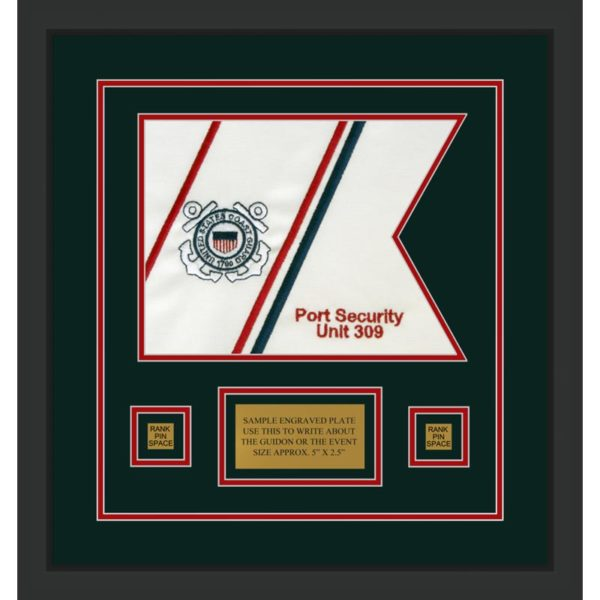 "Coast Guard 12"" x 9"" Guidon Design 129-D1-M2 Framed"