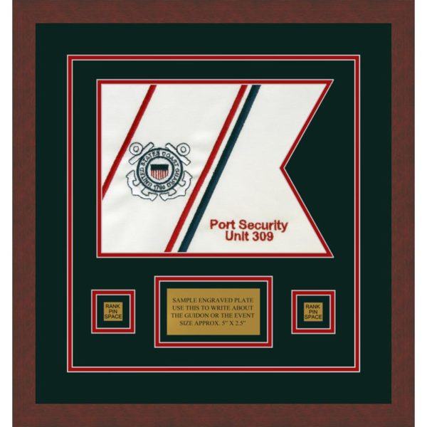 "Coast Guard 12"" x 9"" Guidon Design 129-D1-M3 Framed"