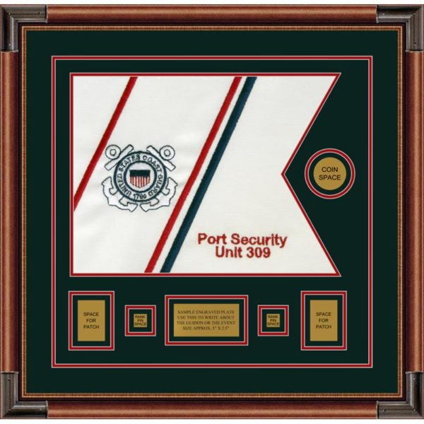 "Coast Guard 20"" x 15"" Guidon Design 2015-D1-M4 Framed"