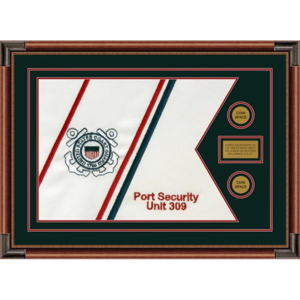 """Coast Guard 28"""" x 20"""" Guidon Design 2820-D1-M4 Framed"""