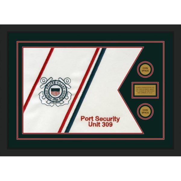 """Coast Guard 28"""" x 20"""" Guidon Design 2820-D1-M5 Framed"""