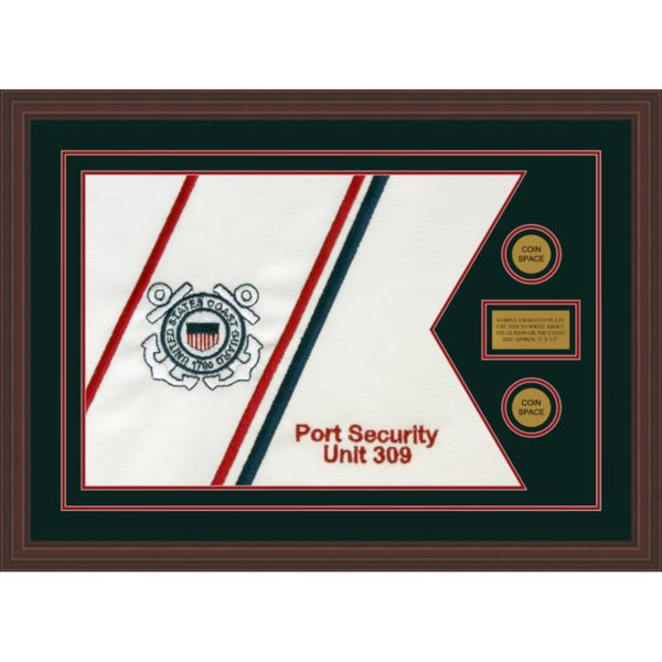 """Coast Guard 28"""" x 20"""" Guidon Design 2820-D1-M6 Framed"""
