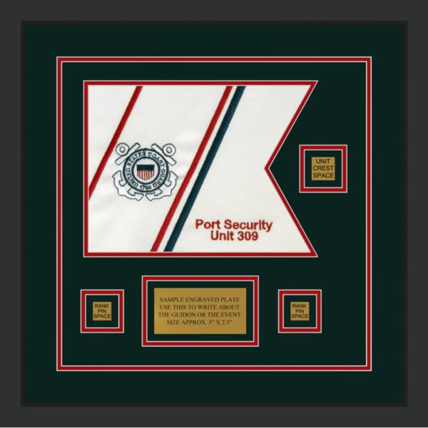 "Coast Guard 12"" x 9"" Guidon Design 129-D2-M2 Framed"