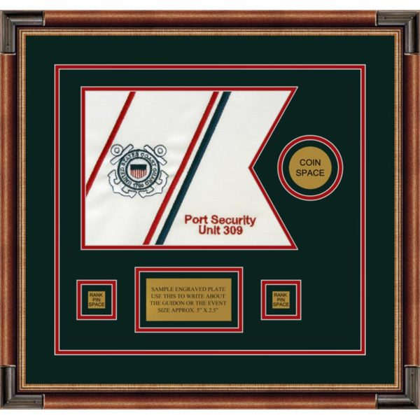 "Coast Guard 12"" x 9"" Guidon Design 129-D3-M1 Framed"